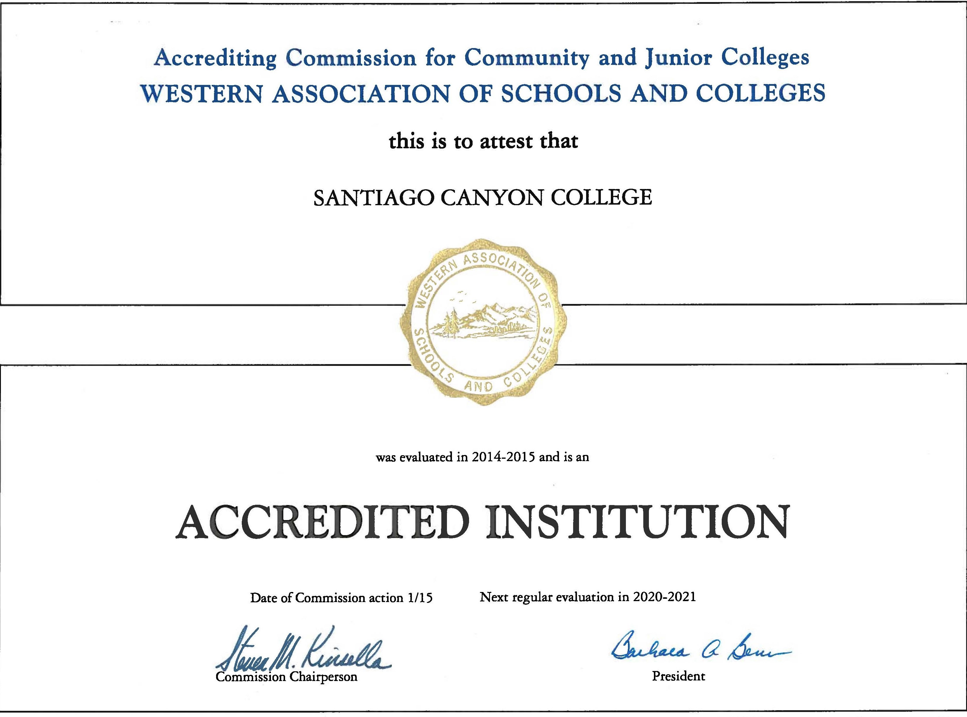 Santiago Canyon College Fall 2020.Accreditation Self Evaluation