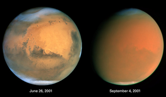 Image of dust storms on Mars