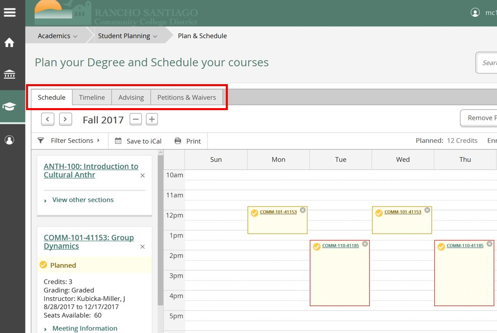 Plan Your Degree Register TABS