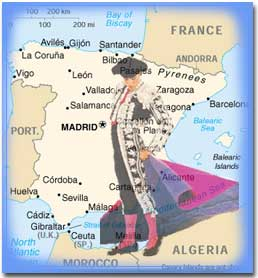 Image of Spain and bull fighter