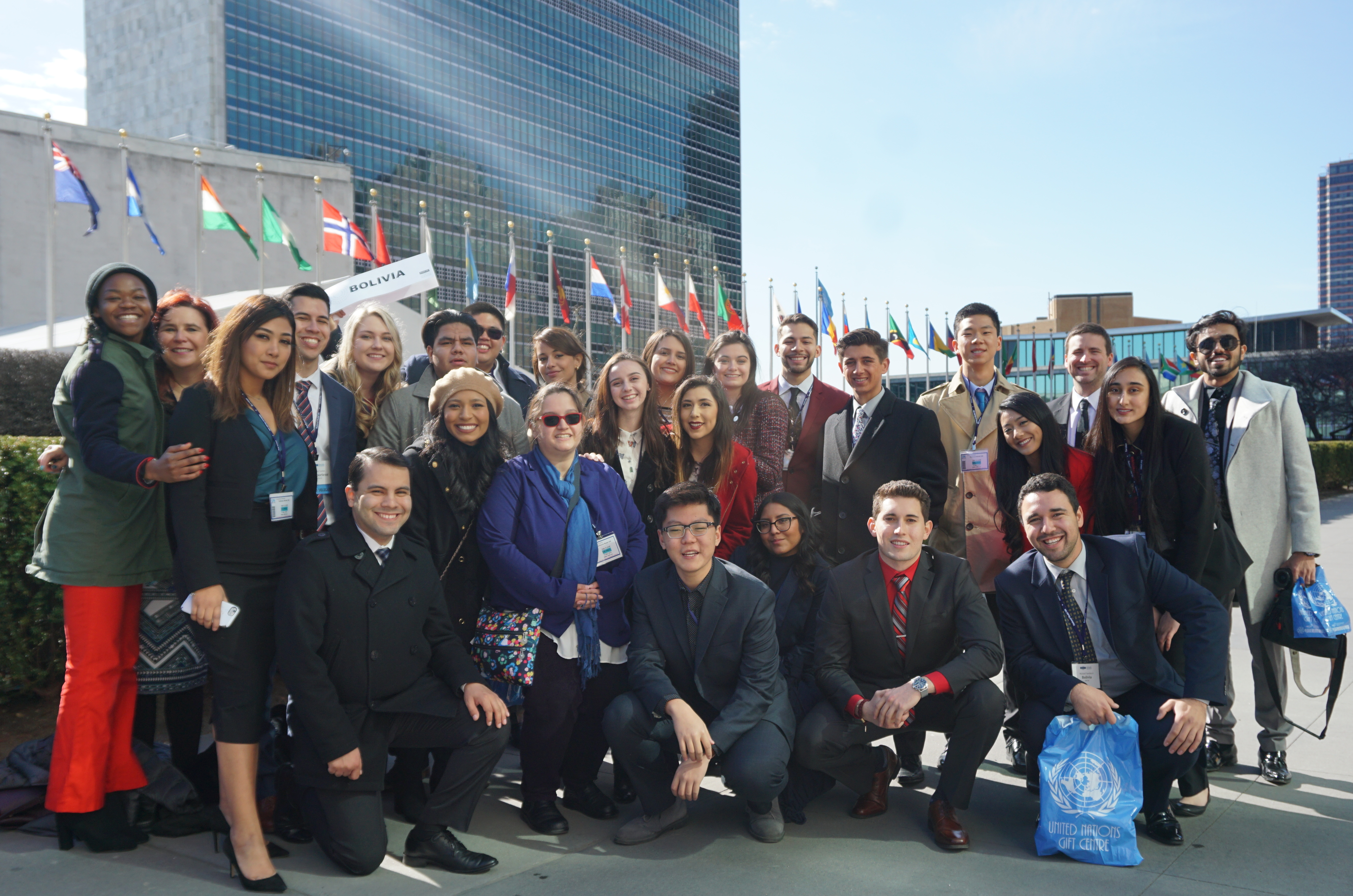 Picture of the SCC Model United Nations team in front of the United Nations.