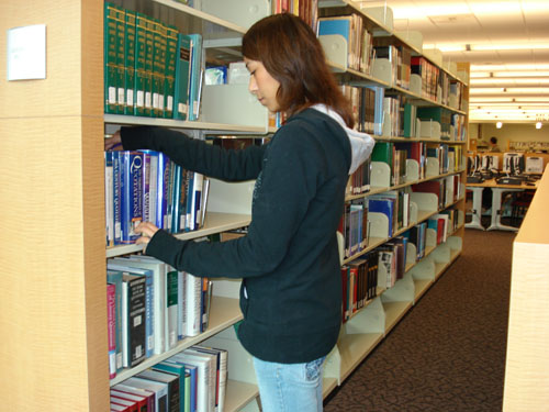 Student browse reference collection