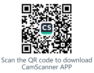 Scan the QR code to download CamScanner APP