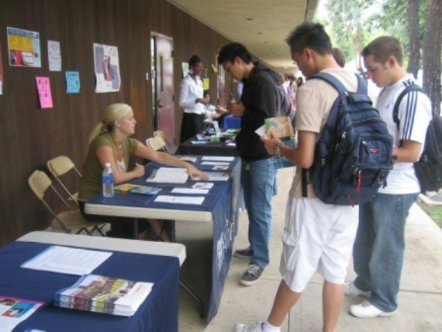 SCC students obtain valuable information from a university representative at a Transfer Fair. In 2006-07, 1,036 students transferred to 4-year institutions, a 10.2% increase over the previous year.