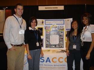 SCC Peer Health Educators (Corey Hopkins, Veronica Oliver, and Elieka Ghafari) accompanied Cristy Chen, MPH, Peer Health Educator from the Health & Wellness Center for a Poster Presentation at Community College League of California Conference in Anaheim.