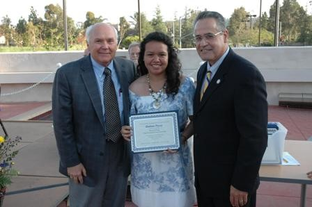 Nearly 115 scholarships, totaling $55,000, were awarded to SCC students at the Scholarship Ceremony. Pictured: Rotary Club of Orange member and SCC Foundation Board Member Joe Fortier, award recipient Andrea Preza, and President Juan Vasquez.