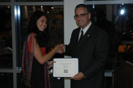 The SCC Fall Fundraiser, TGIF was held in the SCC Library on Friday, November 21. During the evening, ASG President Tina Lam was congratulated by President Vasquez for receiving the 08/09 TGIF scholarship.